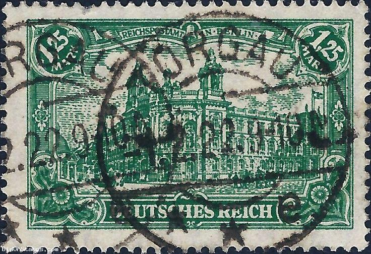 1,25M Reichspostamt in Berlin with Flags - Weimar Republic 1920 Ø #stamp #auction #stampauction #germanstamp #reichspostamt #berlin #torgau #bidonstamps