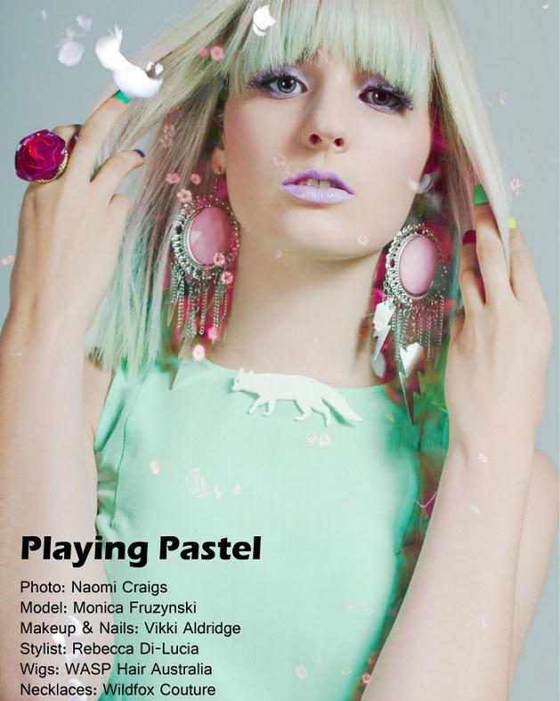 Pastel shoot published in Freque Magazine  Model: Monica Fruzynski  Makeup/Hair/Nails: Vikki Aldridge  Stylist: Rebecca DiLucia  Photographer: Naomi Craigs  Wigs supplied by: Wasp Hair Australia