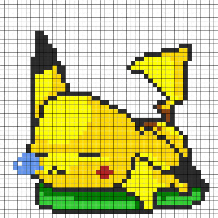 sleepy pikachu perler bead pattern