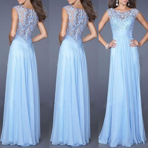 NO.1 Women Sexy and Clear Lace Prom Gown Formal Evening Party Ball Dress Long