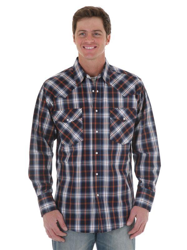 Mens Wrangler Western Navy/Orange Long Sleeve Shirt MWR073M