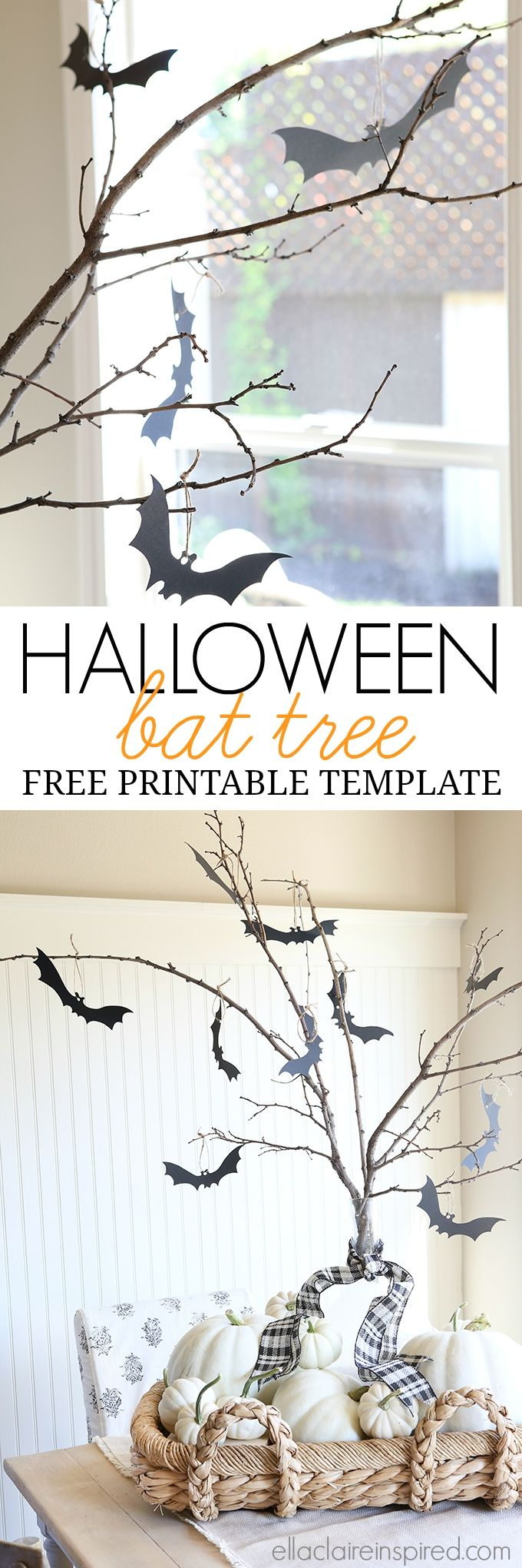 Make this adorable Spooky Halloween Bat Tree using this tutorial with free printable bat templates! Perfect thing to do with kids!