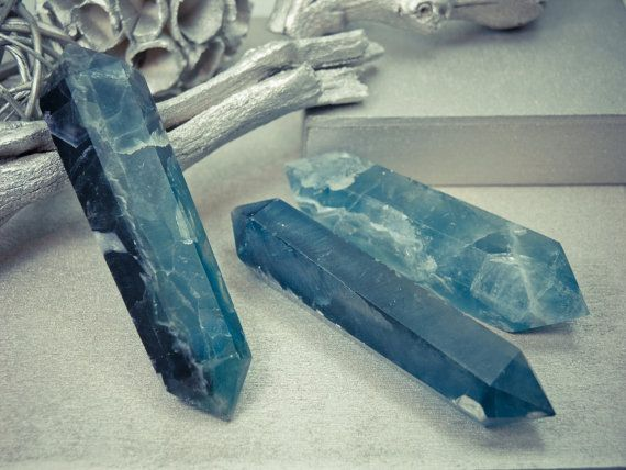 """4"""" - 5"""" Deep Blue rare Fluorite Double Terminated Wands - Aura cleansing stone"""