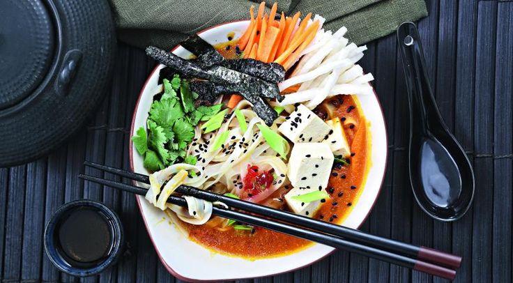 Суп с рисовой лапшой ибульоном из тыквы