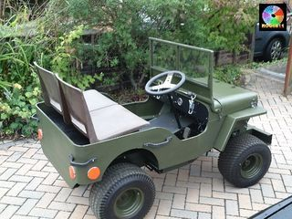 This project started with some pictures on the internet of a mini jeep built onto the chassis of a ride on mower with an  I/C engine..... I had...