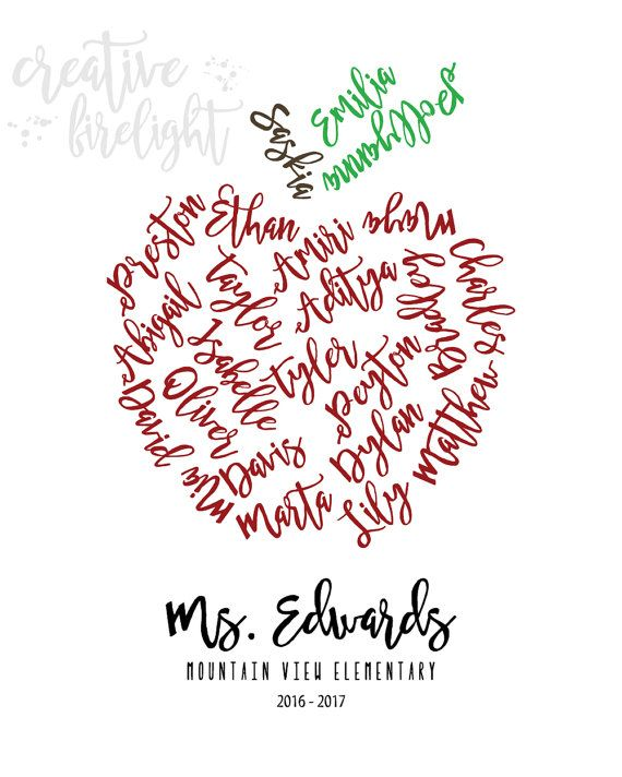 Personalized Teacher's Gift / Student Names on Apple from student or whole class…