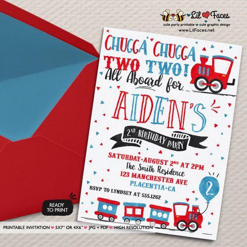 Chugga Chugga Choo choo Train Birthday invitations two two Birthday Party printable invitations Watercolors birthday invitations