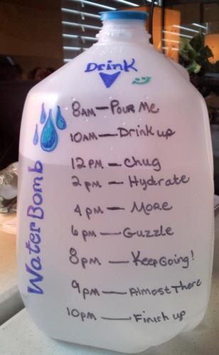 Water intake idea; Drinking enough water will help your body & it can get rid of those painful muscles too...