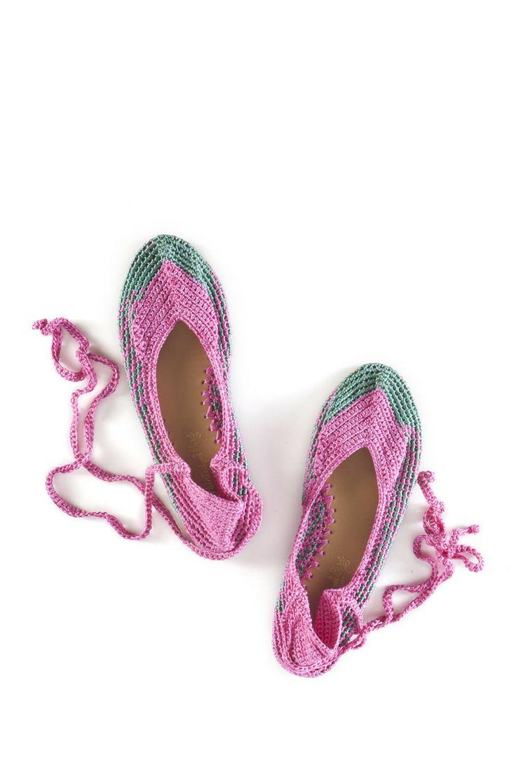 Hand crochet ankle strap flat