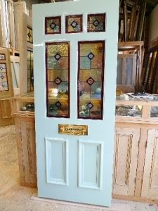 BEAUTIFUL PITCH PINE STAINED GLASS FRONT DOOR /VICTORIAN/EDWARDIAN STYLE | eBay