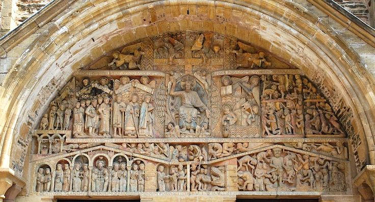 #58. Church of Sainte-Foy. Conques, France. Romanesque Europe. Church: c. 1050-1130 CE.; Reliquary of Saint Foy: 9th c. CE, with later additions. Stone (architecture; stone and paint (tympanum); gold, silver, gemstones, and enamel over wood (reliquary).