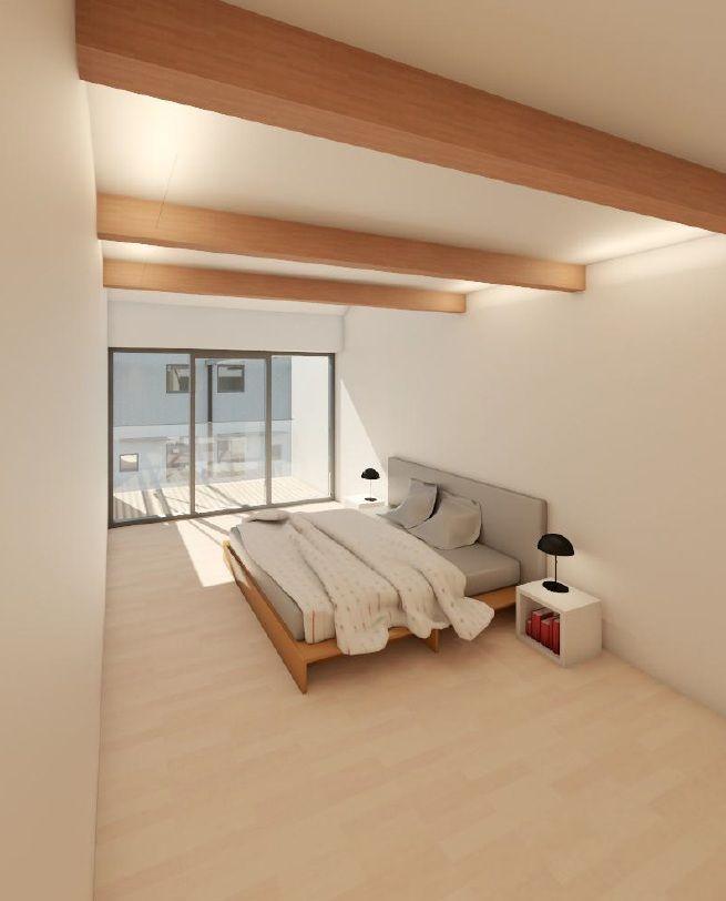 Schlafzimmer eines Townhouses in Bamberg. Im Vertrieb der Ott Investment AG, Schlüsselfeld. Mehr zur Immobilie finden Sie hier: http://www.ott-kapitalanlagen.de/denkmalgeschuetzte-immobilie/bamberg/schaeffler-2-0-townhouse-eigentumswohnung-einfamilienhaus.html