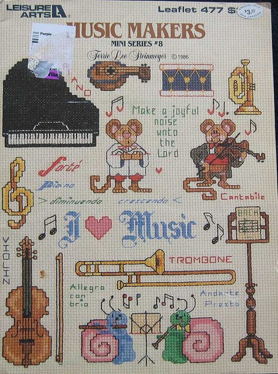 Music Makers Cross Stitch Pattern Book Leisure by TheHowlingHag, $7.95