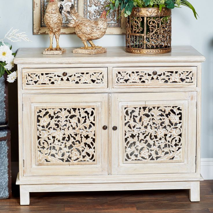 Suncrest Rustic Mahogany Carved Floral 2 Door Accent Cabinet Wooden Cabinets Accent Doors Buffet Table Decor