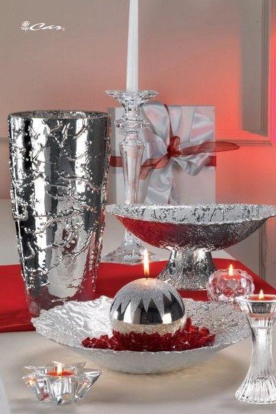 Vaso, alzata e centrotavola in vetro bagnato in argento 999, candeliere e portacandele di vetro e candela argentata