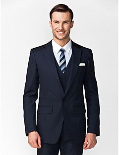 Dark Blue Polyester Tailored Fit Three-Piece Suit