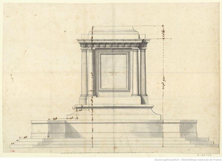 [Côté gauche du premier piédestal de la statue équestre du Roi] : [dessin] / [Jules Hardouin-Mansart]