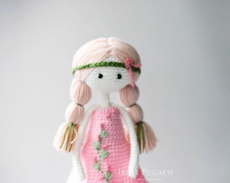 Summer girl doll. Crochet doll. Baby Girl doll. Crochet girl doll. Doll in a pink dress. Handmade doll by IraPugachDesign on Etsy