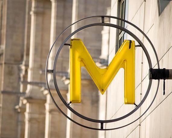 Cantilevered Metro sign, Paris