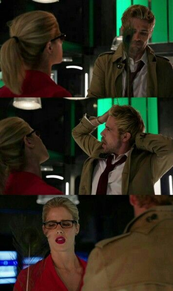 "#Arrow 4x05 ""Haunted"" Constantine and Felicity."