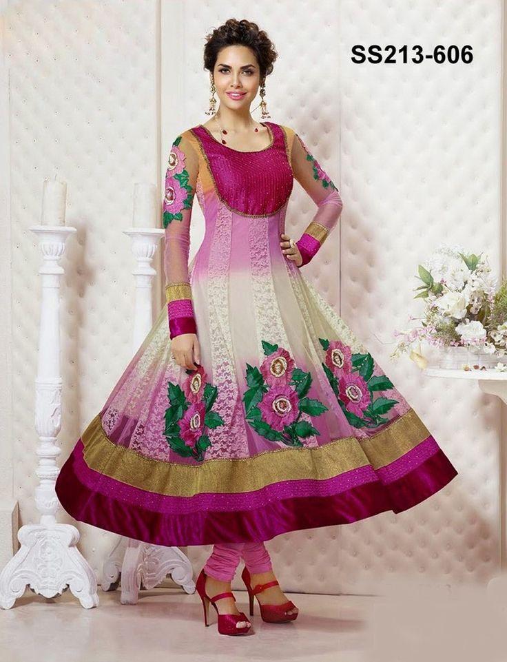 Esha Gupta Georgette Thread Work Pink & Cream Semi Stitched Long Anarkali Suit - 2005