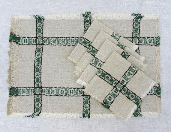 Scandinavian placemats & napkins  set of 4  natural linen w/