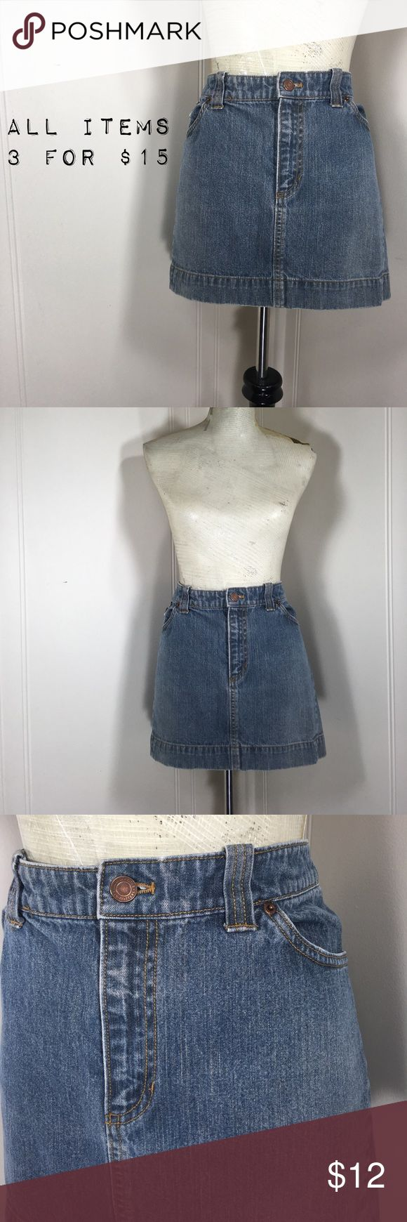 "American Eagle Denim Jean Mini Skirt Preowned condition. No stains or holes. Normal wash and wear.           NOTE: has been pinned to dressform   Tag Size: women's 12 Waist Flat: 17"" Hips: 20"" Length: 13"".   Fabric has no stretch.                         Please go off measurements and NOT Tag Size. Sizes differ from company to company. I 💜questions! Please ask any and all questions before purchasing.   Thanks! ~Rag Time Machine.~ American Eagle Outfitters Skirts Mini"