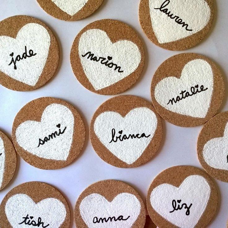 Wedding Cork Coaster: Diy Painted Heart Cork Coasters