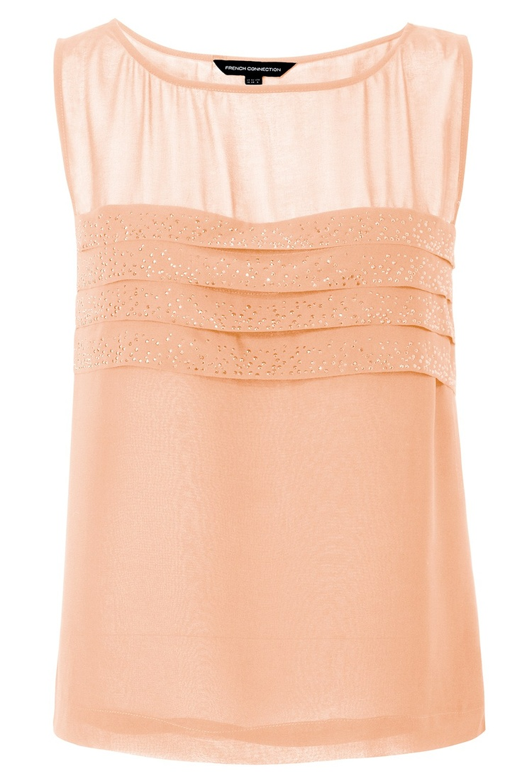 Peach sparkle tiered top