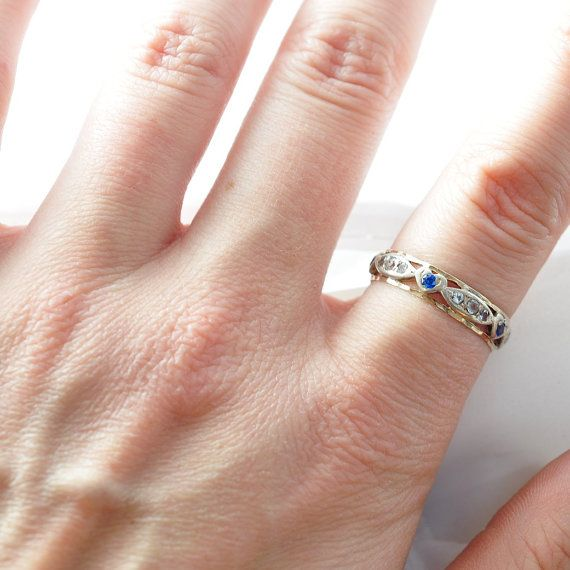 Vintage Promise Ring: Heart Shaped Sapphires by BlueRidgeNotions