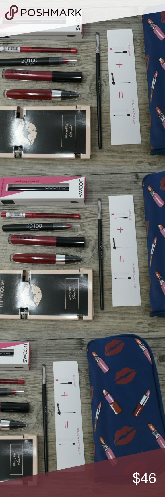 7 Piece Red Lip Collection Gloss Lipstick Bag 7 Item Red Lip Collection + Cosmetic Bag   #1 Swoon Lip Gloss Reusable Wand #2 Mirenesse Lip Bomb Siren Red combines gloss, stain and lacquer all in one. #3 Mirenesee Lip Bomb Glossy Kiss for Lips & Checks #4 LORAC Lip Lustre Gloss: Ruby Lustre, glimmering, glam glosses are paraben-free,  #5 Lord & Berry Crayon Lipstick: Color: Scarlett 3452 (red) #6 NYX Retractable Color: MPL15  Fruit Punch #7 Crown Brush Lip Liner Brush + Makeup Bag  100% nylon…