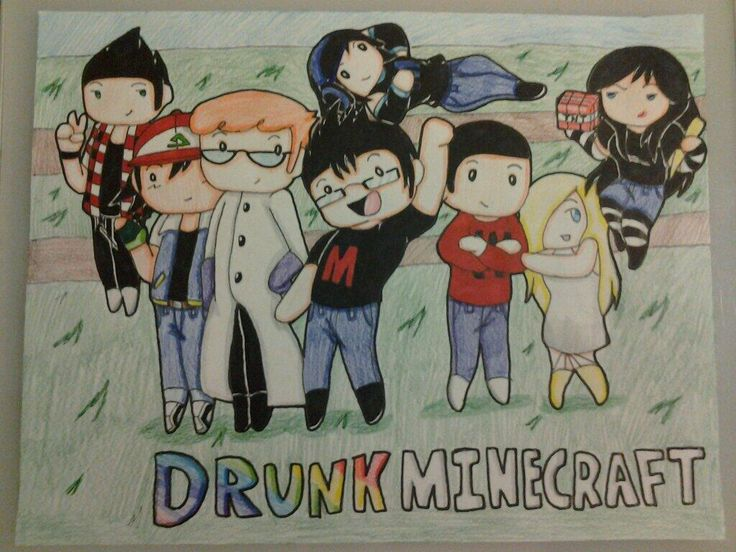 So cute! I love the Drunk Minecraft series :p Markiplier, Lordminion777, Muyskerm, Zombiemold, and Latingoddess. With some appearances by Yamimash. :D Foxtrot4T4 is also in this pic.
