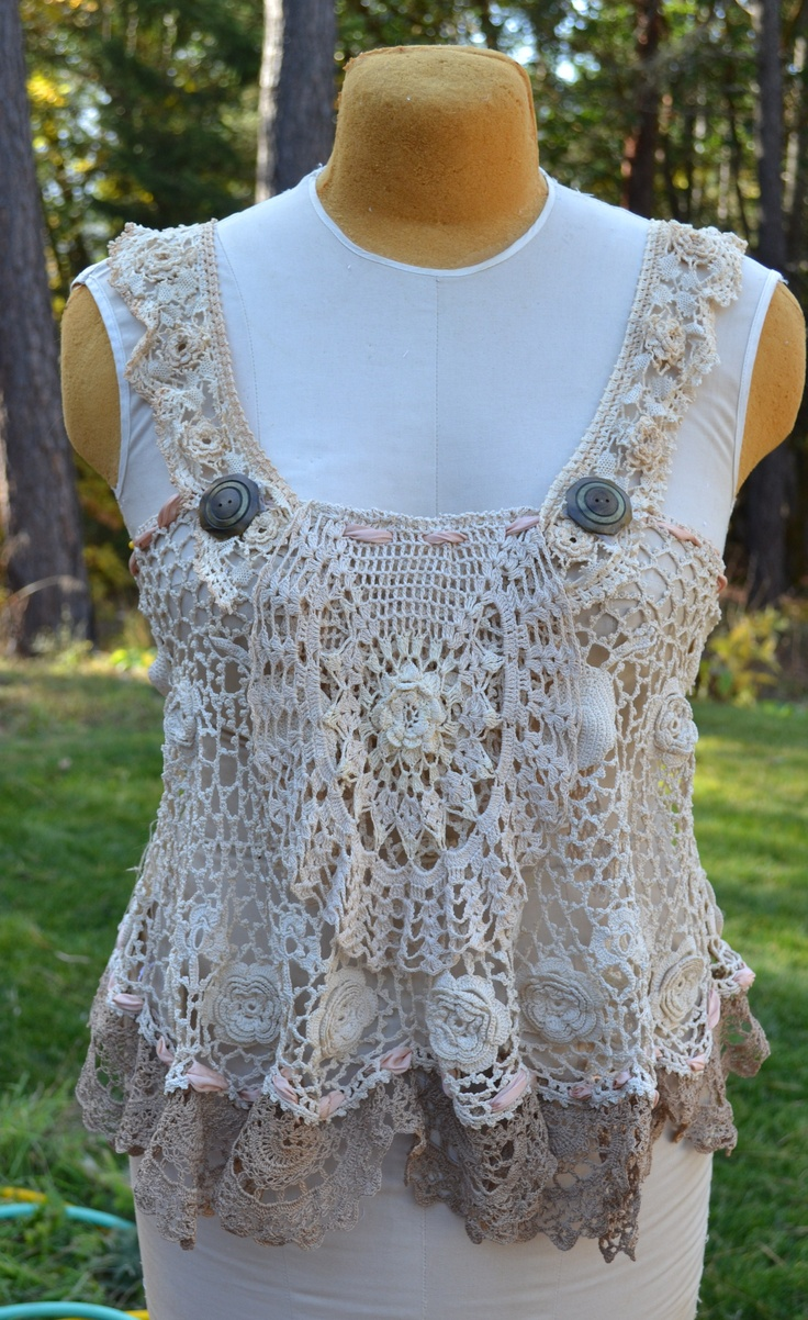 Vintage crochet apron topper with vintage buttoms. Wish I would of kept this one!