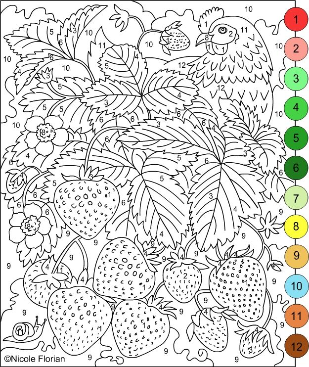 adult color by number coloring pages - Printable Color By Number