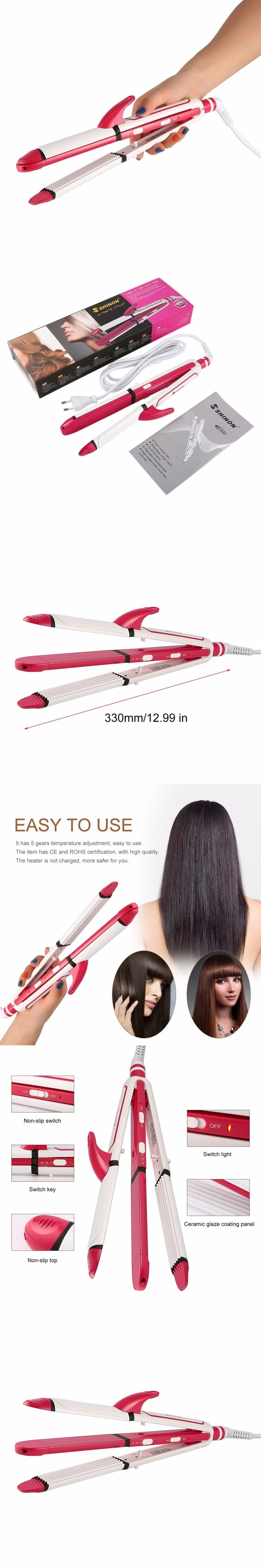 3-In-1 Multifunctional Hair Curler EU Plug Electric Curler Iron Hair Perming Device Hair Straightener Wet /Dry Dual Use Curlers