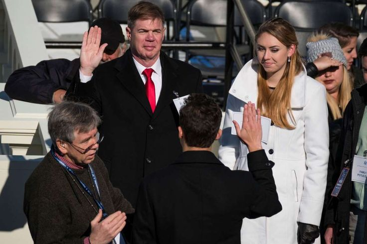 At inaugural rehearsal, Trump sub sports military haircut:  January 15, 2017  -      Army Sgt. Maj. Greg Lowery, left, and Army Spc. Sara Corry, stand in for President-elect Donald Trum... - The Associated Press