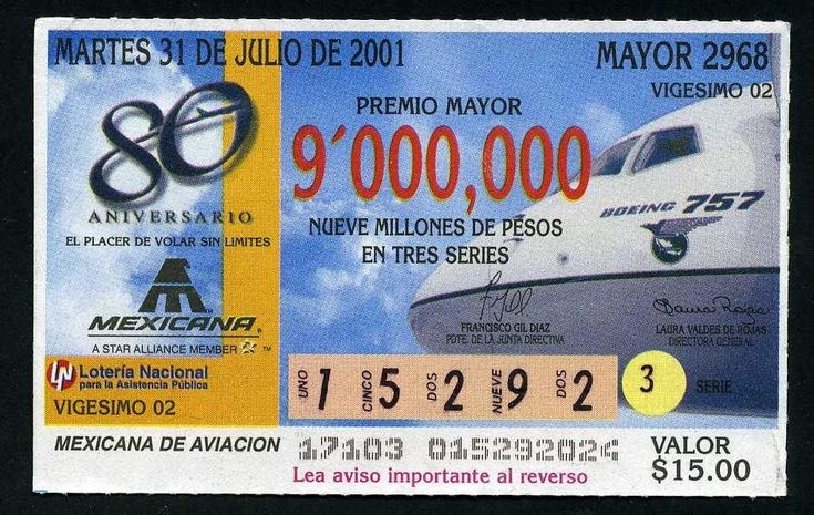mexicana de aviación | billete de loteria 80 aniv. de mexicana de aviacion