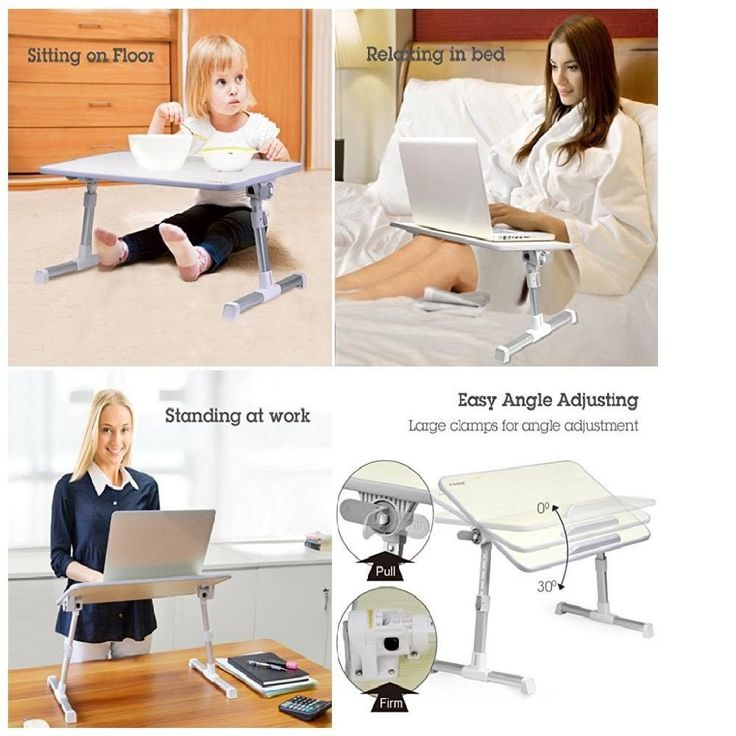 Foldable Quality Adjustable Laptop Table Portable Standing Bed Desk Breakfast #Avantree