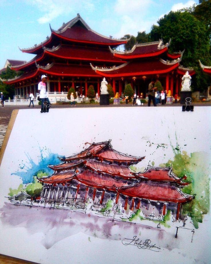 Watercolor sketch by Noor Huda Bastomi of sam poo kong temple #urbansketchers #usk - #Doodlewash