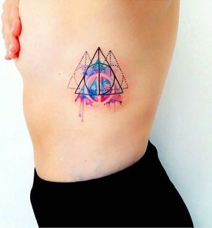 Abstract Geometric Watercolor Tattoo - MyBodiArt.com