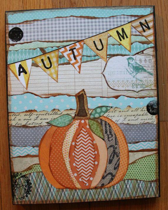 """Autumn Pumpkin 11"""" x 14"""" Original Mixed Media Canvas"""
