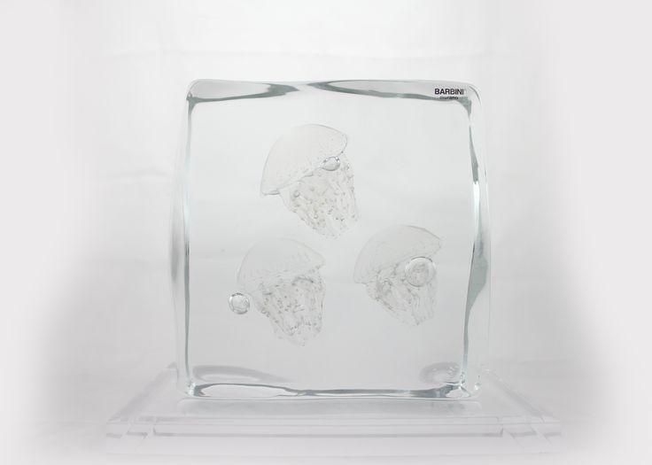 Glass Element with Three Medusa (Clear) H230 x W230 x D80 mm