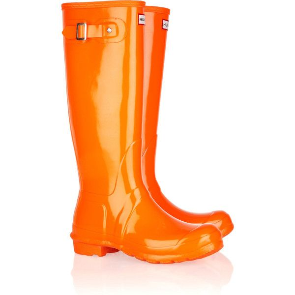 Hunter Festival Tall Wellington boots ($34) ❤ liked on Polyvore featuring shoes, boots, orange, rubber boots, wellies boots, platform boots, pull on boots and knee high platform boots