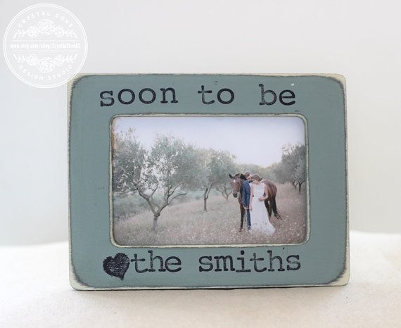 engagement gift personalized picture frame for engagement party proposal fiance rustic country distressed - Engagement Photo Frames