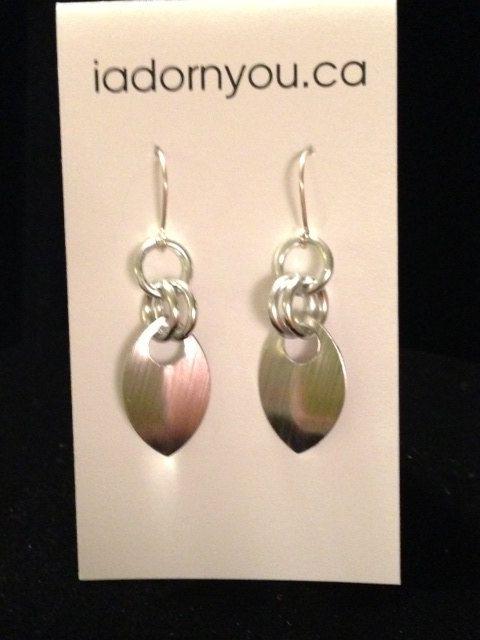 Single Scale Earrings  Sterling Silver Ear Wires by iadornyouca, $10.00