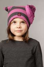 KidCuteTure Soft Hat wt Side Flower Charcoal/Berry *szS only*