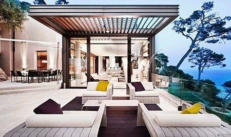 Rooftop Terrace with Wooden Tile Floor and Wall Design Ideas for Modern House