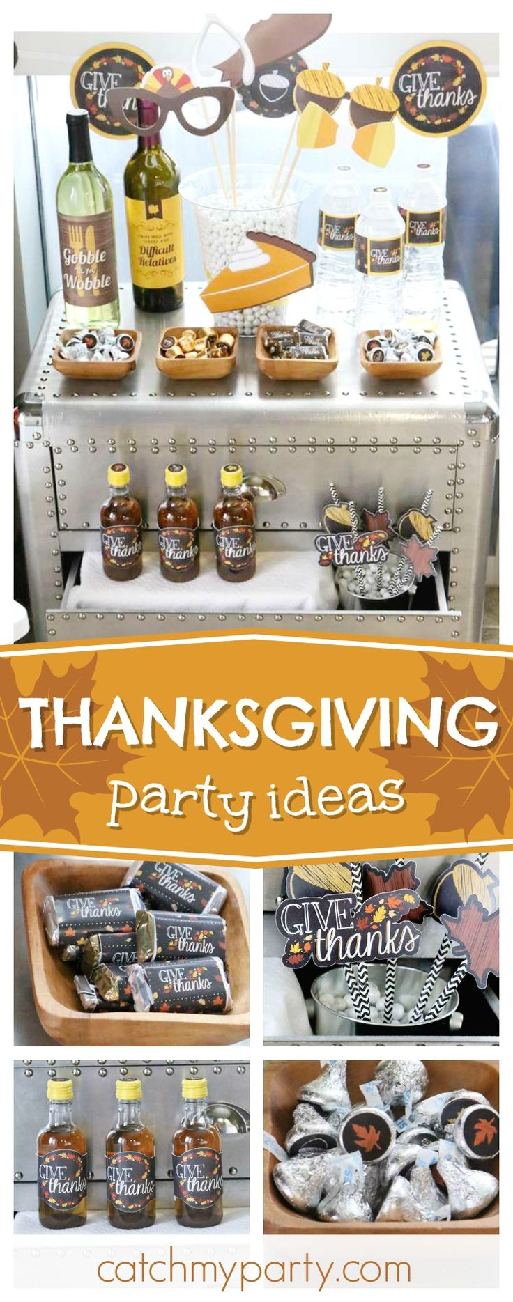 Celebrate Thanksgiving with a wonderful party like this one! The photo booth props are so cool!! See more party ideas and share yours at CatchMyParty.com #partyideas #thanksgiving
