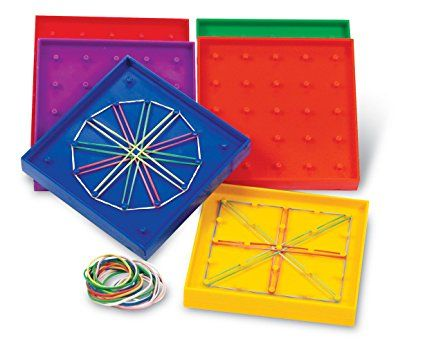 5-Inch Double-Sided Assorted Geoboard, Set of 6