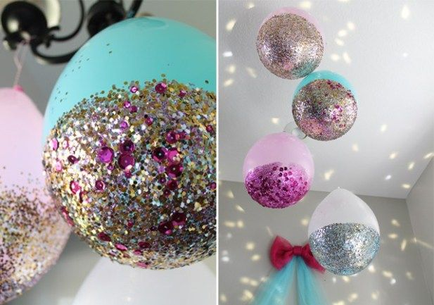 Fun And Cheap Diy Party Decorations Glitter Balloons Diy Party